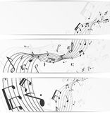 Music notes banners Stock Photography
