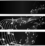 Music notes black banners Stock Images