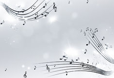 Music Notes Black and White Background Stock Photo