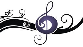 Music notes. Black and white music design Stock Photos