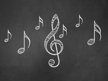 Music notes on blackboard Stock Photo