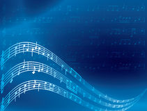 Music notes - blue abstract background - vector Royalty Free Illustration