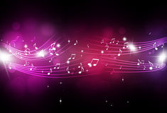 Music Notes with Blurry Lights Stock Photo