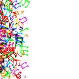 Music notes border. Colorful music notes border frame on white background Stock Images