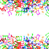 Music notes border. Colorful music notes border frame on white background Royalty Free Stock Photos