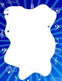 Music notes border / frame. With blue color background Stock Photography
