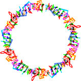 Music notes border frame. Colorful music notes border frame on white background Royalty Free Stock Photo