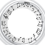 Music notes border. Musical background. Music round shape frame Royalty Free Stock Images