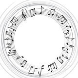 Music notes border. Musical background. Music style round shape Royalty Free Stock Photos