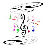 Music notes in both layers royalty free illustration
