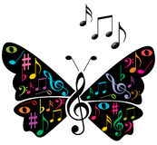 Music notes butterfly Stock Photography