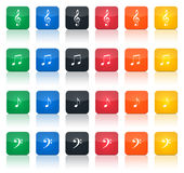 Music notes buttons. Illustration of different music notes buttons, in various colours royalty free illustration