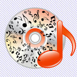 Music notes on a cd Stock Photography