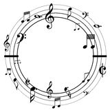 Music notes circle black Stock Images