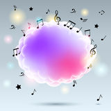 Music notes with cloud Royalty Free Stock Images