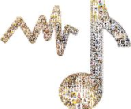 Music notes from collage of faces. Collage of faces of people in shape of musical note and audio bar Royalty Free Stock Photos