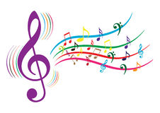 Music Notes. Collection of illustration of colouful music notes on isolated Royalty Free Stock Image