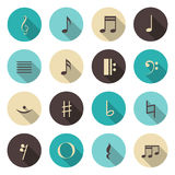Music notes color icons set Royalty Free Stock Photography