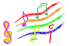 Music notes colorful Stock Photography