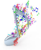 Music notes. Colorful music notes - 3D render Royalty Free Stock Photo