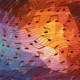 Music notes art. Music notes on colorful geometric background Royalty Free Stock Photos