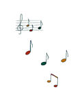 Music Notes. Colourful Music Notes Drawn on a White Wall Royalty Free Stock Image
