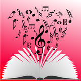 Music notes coming from a book pages Royalty Free Stock Photos