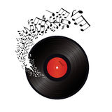 Music notes coming out of the hole in the vinyl Royalty Free Stock Photos