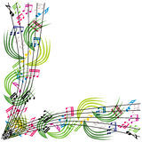 Music notes composition, stylish musical theme background, vecto Stock Image