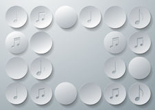 Music Notes Cut in Paper Circles Background Royalty Free Stock Image
