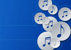 Music Notes Cut in Paper Circles on Blue Background Stock Photo
