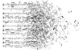 Music notes dancing away Royalty Free Stock Image
