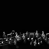 Music Notes Dark Background Stock Photos
