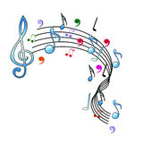 Music notes design. Colourful music notes in white background royalty free illustration