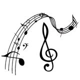 Music notes design. Illustration of diffwerent music note icons isolated in white Royalty Free Stock Photo