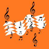 Music notes design. Illustration of music notes in a orange background Stock Photography