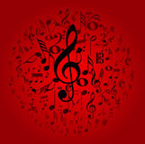 Music notes design on red Royalty Free Stock Image