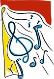 Music notes. Different  with different backgrounds.  drawings stock illustration