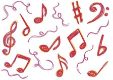 Music notes doodles Stock Image