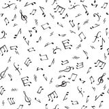 Music notes and elements seamless pattern. Musical tiling backgr. Ound. Music style textured wallpaper stock illustration