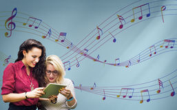 Music Notes Entertainment Melody Listening Concept Royalty Free Stock Photo