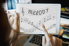 Music Notes Entertainment Melody Listening Concept Royalty Free Stock Image