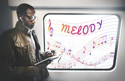 Music Notes Entertainment Melody Listening Concept Royalty Free Stock Photos