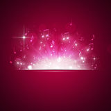 Music Notes Explosion Red Background Stock Photo