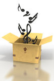 Music notes floating out of cardboard box Stock Photography