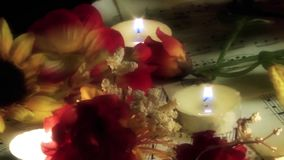 Music Notes and Flowers in the Candle Light stock video