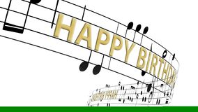 Music notes flowing with message happy birthday in gold color