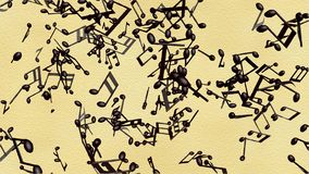 Music notes flowing on the old paper background stock footage
