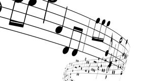 Music notes flowing on white background,
