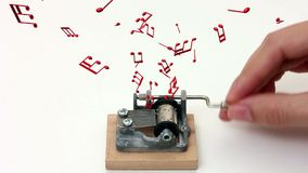 Music notes flying out of music box stock footage